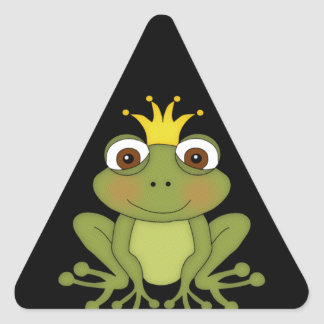 Fairy Tale Frog Prince with Crown Triangle Sticker