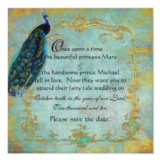 Fairy Tale Gold Filigree Peacock & Crown 13 Cm X 13 Cm Square Invitation Card