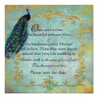 Fairy Tale Gold Filigree Peacock & Crown Card