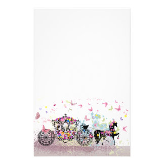 Fairy Tale Horse and Carriage with Flowers Stationery