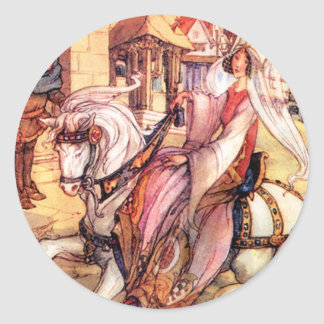 Fairy Tale Princess Rising into Town Round Sticker