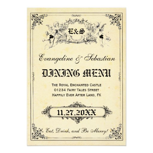 Fairy Tale Storybook Wedding Menu Cards
