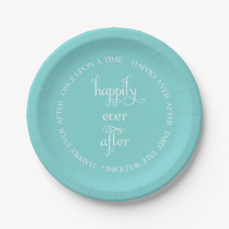 Fairy Tale Wedding Happily Aqua Paper Plate 7 Inch Paper Plate
