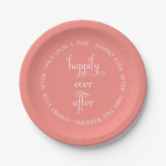 Fairy Tale Wedding Happily Coral Paper Plate 7 Inch Paper Plate