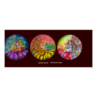 FAIRY TALES yellow pink blue red brown Poster