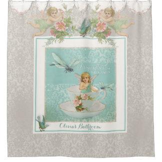 Fairy Teacups w Birds n Dragonflies Lace Damask Shower Curtain