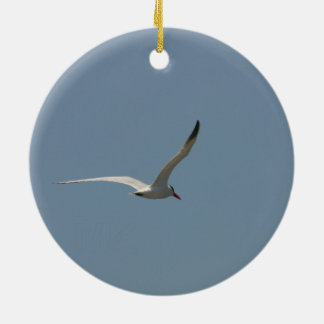 Fairy Tern in Flight/Antlered Stag in the Snow Round Ceramic Decoration