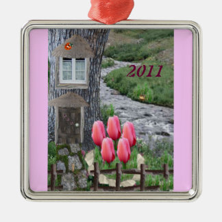 Fairy Tree Cottage Silver-Colored Square Decoration