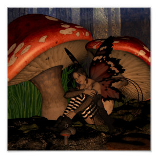 Fairy Under Mushrooms, Woodland Fairy Poster