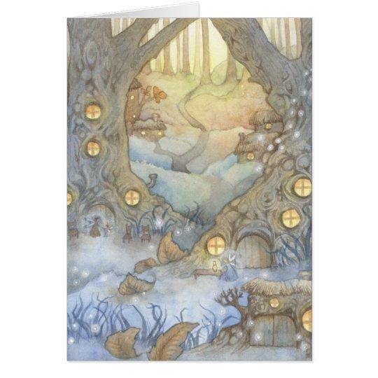 Fairy Village - Fantasy Watercolor Art Card