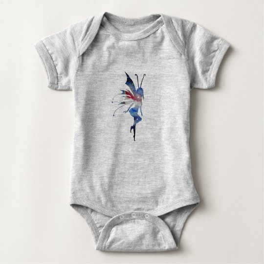 Fairy Watercolor Art Baby Jersey Bodysuit, White Baby