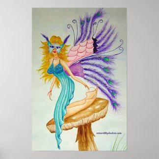 Fairy with feathers on mushroom print