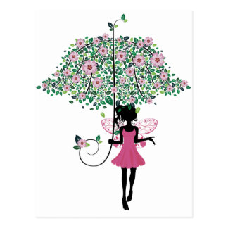 Fairy with Floral Umbrella Postcard