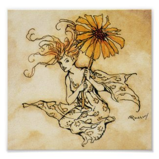 Fairy with Flower Poster