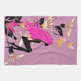 Fairy with Flowers & Butterflies in Lilac Tea Towel