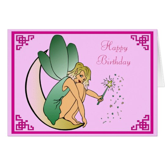 Fairy with Magic Wand Pixie Dust Happy Birthday
