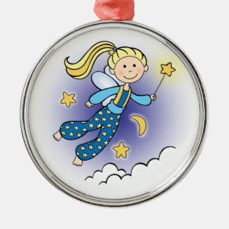 Fairy with Stars Silver-Colored Round Decoration