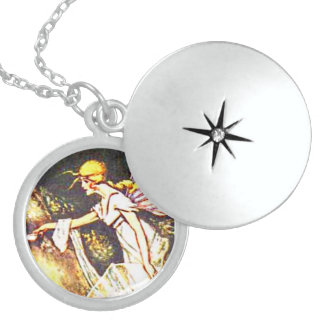 Fairy with Wings Round Locket Necklace