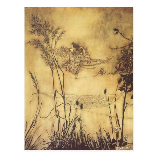 Fairy's Tightrope by Arthur Rackham, Vintage Art Post Card