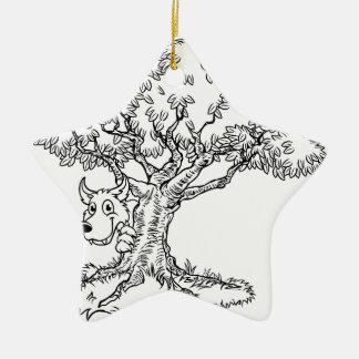 Fairytale Big Bad Wolf and Tree Cartoon Christmas Ornament