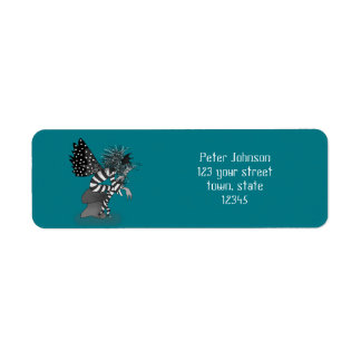 Fairytale Butterfly Turquoise Address Label