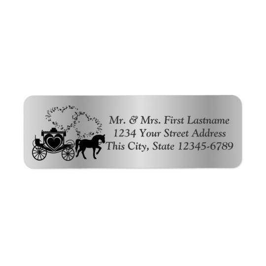 Fairytale Carriage and Hearts Silver Return Address Label