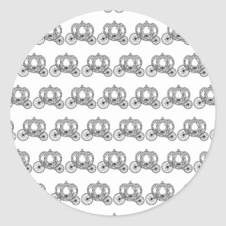 Fairytale Carriage Pattern. Classic Round Sticker