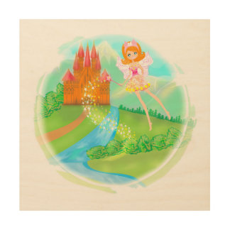 fairytale castle wood canvas