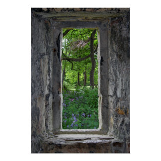 Fairytale 'Fake' Stone Window with View of Flowers Poster