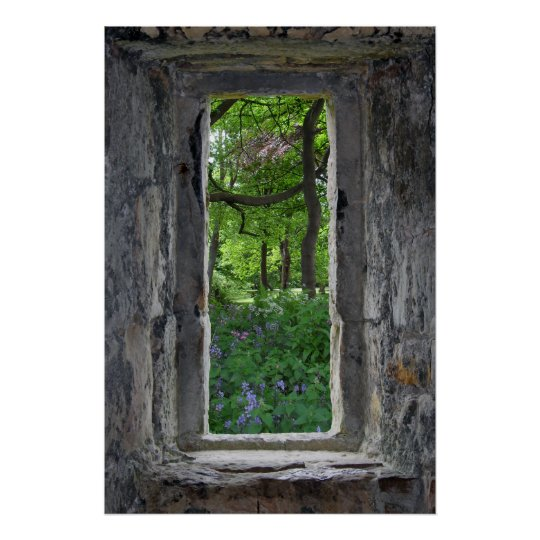 Fairytale 'Fake' Stone Window with View of Flowers