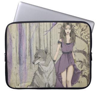 Fairytale Fantasy Girl With Wolf, Laptop Sleeve