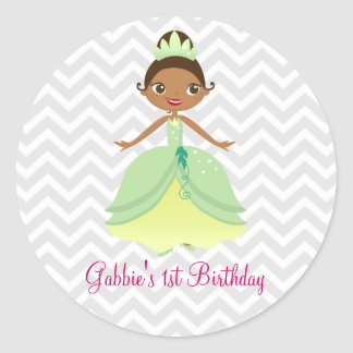 Fairytale Green Princess Happy Birthday Stickers