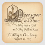 Fairytale Mediaeval Castle Once Upon Wedding Seal Square Sticker