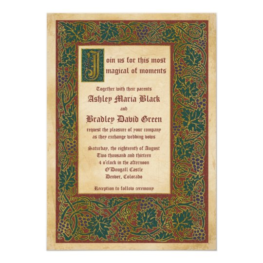 Fairytale Mediaeval Illuminated Manuscript Wedding Card