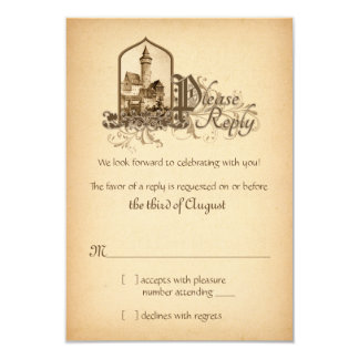 Fairytale Medieval Castle Once Upon Wedding RSVP 9 Cm X 13 Cm Invitation Card