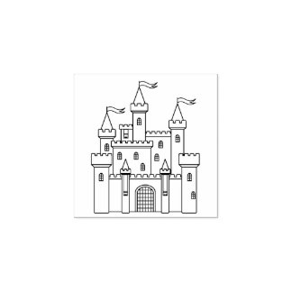 Fairytale Medieval Royal Castle Rubber Stamp