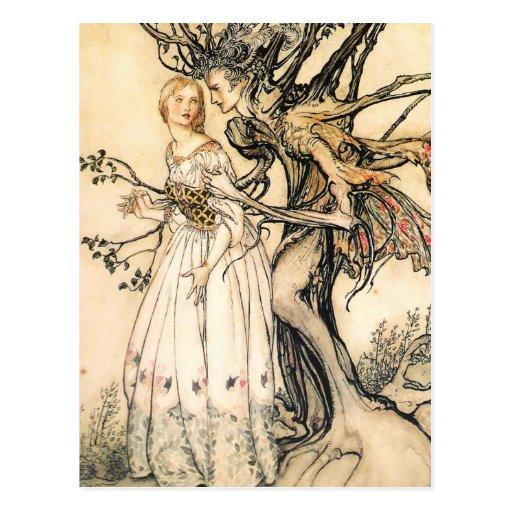 Fairytale Princess and Tree Elf Postcard
