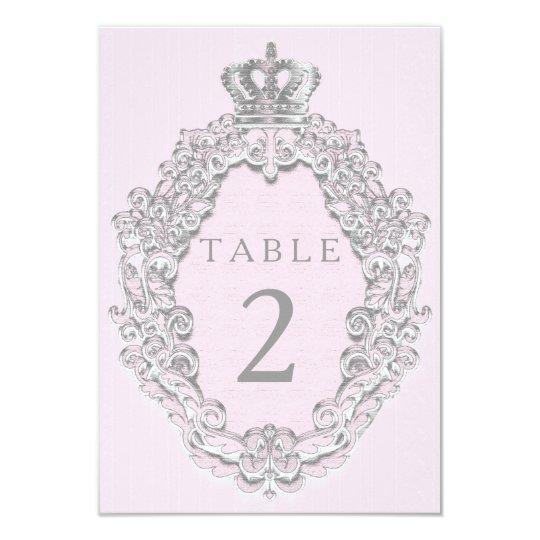 Fairytale Princess Crown Pink Table Number Card