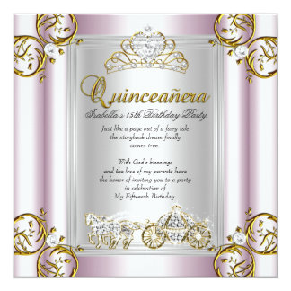 Fairytale Quinceanera 15th Birthday Soft Pink Card