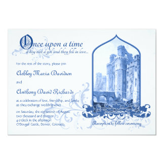 Fairytale Royal Blue Castle Once Upon Wedding Card