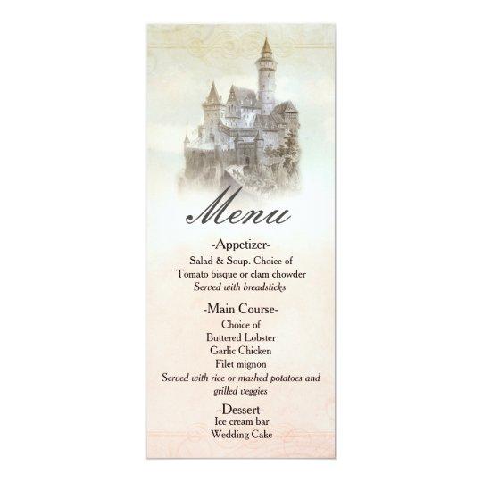 Fairytale Storybook Castle Wedding Menu Card