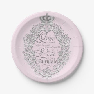 Fairytale Vintage Wedding Princess Crown Plates 7 Inch Paper Plate
