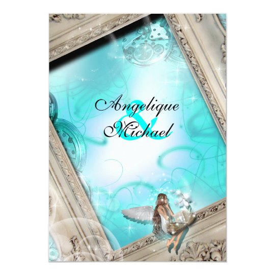 Fairytale wedding aqua blue card