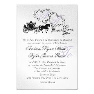 Fairytale Wedding Carriage Silver 13 Cm X 18 Cm Invitation Card