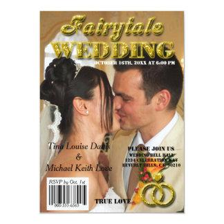 Fairytale Wedding Gold Glitter Magazine Cover 13 Cm X 18 Cm Invitation Card