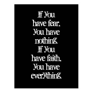 Faith and fear positive thinking law of attraction postcard