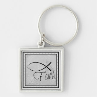 Faith and Jesus Fish (Ichthus) Silver-Colored Square Key Ring