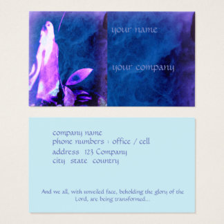 Faith based business card, praying figure on blue business card