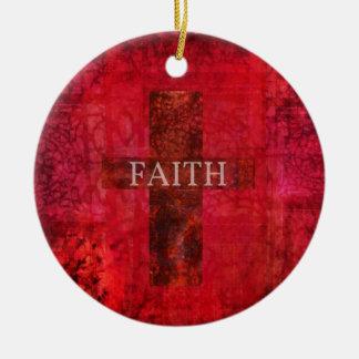 FAITH CROSS  Hip Contemporary Christian art Round Ceramic Decoration