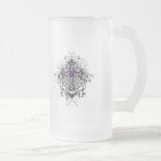 Faith Family Prayer Cross - Crohn's Disease Frosted Glass Mug